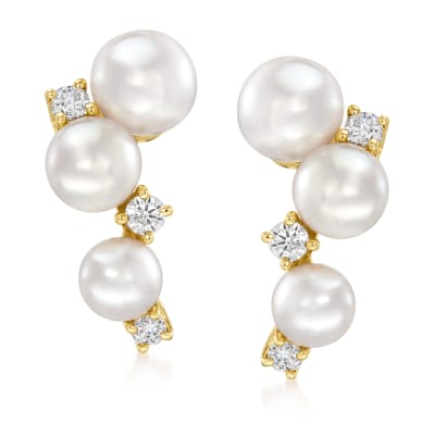 Mikimoto 3.25-4.25mm A+ Akoya Pearl and Diamond-Accented Earrings in 18kt Yellow Gold