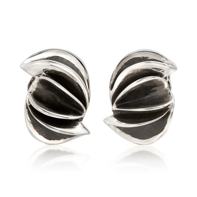 "Zina Sterling Silver ""Contemporary"" Folded Sculpture Clip-On Earrings"