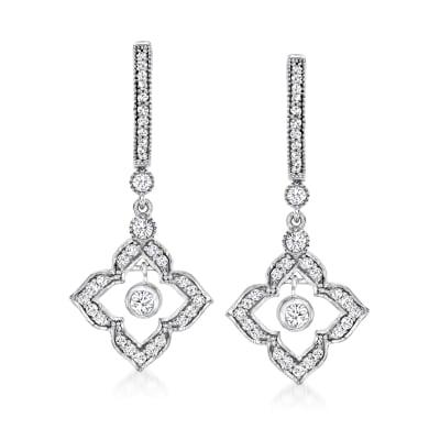 .75 ct. t.w. Diamond Flower Hoop Drop Earrings in Sterling Silver