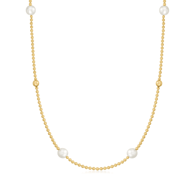 Roberto Coin 6mm Cultured Pearl and 18kt Yellow Gold Bead Necklace
