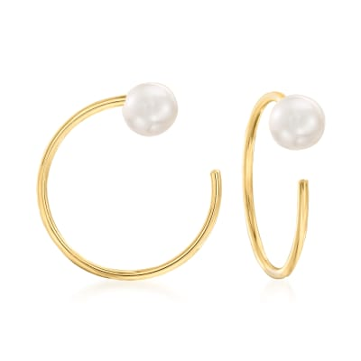 4-4.5mm Cultured Pearl C-Hoop Earrings in 14kt Yellow Gold