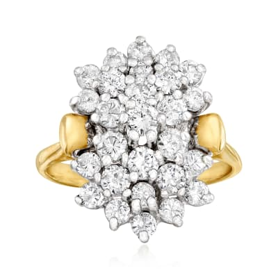 C. 1980 Vintage 1.65 ct. t.w. Diamond Cluster Ring in 14kt Yellow Gold