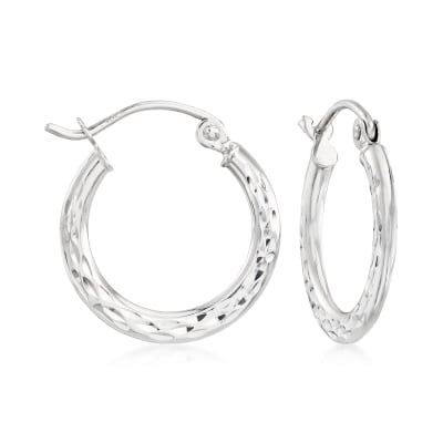 14kt White Gold Diamond-Cut Hoop Earrings