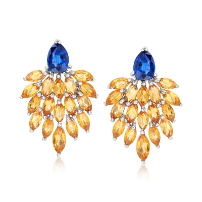 5.00 ct. t.w. Citrine and 1.70 ct. t.w. Kyanite Cluster Drop Earrings in Sterling Silver