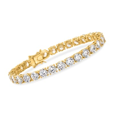 23.00 ct. t.w. CZ Tennis Bracelet in 18kt Gold Over Sterling