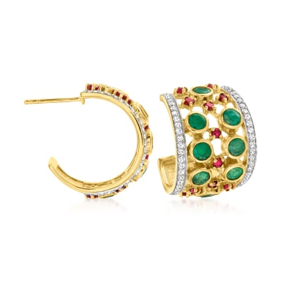 2.00 ct. t.w. Emerald and 1.20 ct. t.w. Ruby C-Hoop Earrings with 1.20 ct. t.w. White Zircon in 18kt Gold Over Sterling