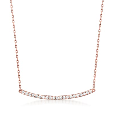 .25 ct. t.w. Diamond Curved Bar Necklace in 14kt Rose Gold