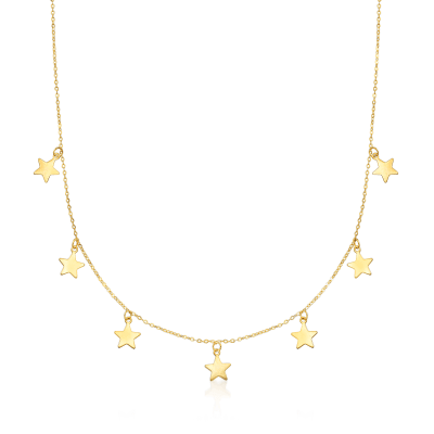 Italian 14kt Yellow Gold Multi-Star Charm Necklace