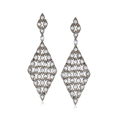 C. 1990 Vintage 3.00 ct. t.w. Diamond Drop Earrings in 18kt White Gold