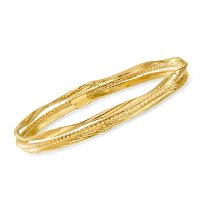 Italian 14kt Yellow Gold Jewelry Set: Three Bangle Bracelets