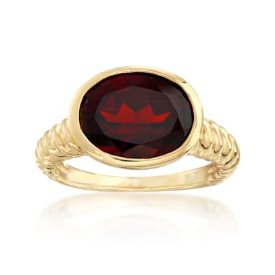 5.00 Carat Oval Garnet Ring in 18kt Gold Over Sterling