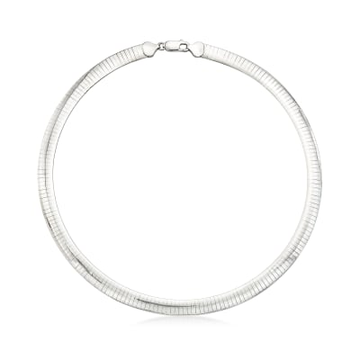 Italian 8mm Sterling Silver Omega Necklace