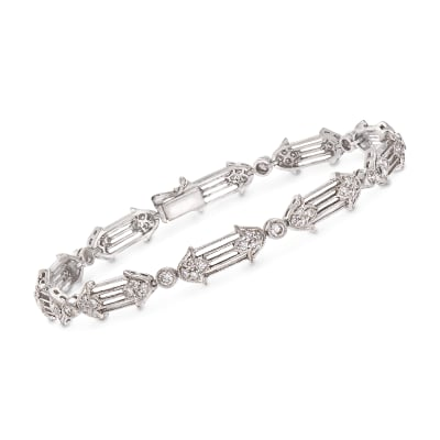 C. 1990 Vintage 1.20 ct. t.w. Diamond Floral Bracelet in 18kt White Gold