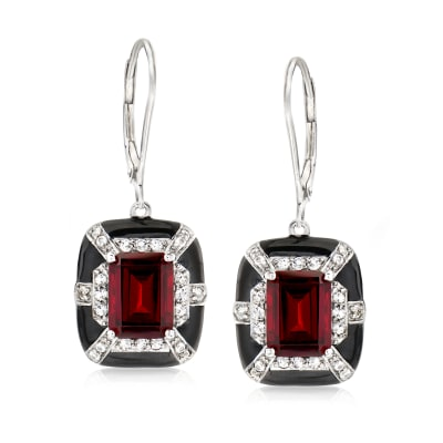 3.90 ct. t.w. Garnet and .40 ct. t.w. White Topaz Drop Earrings in Sterling Silver