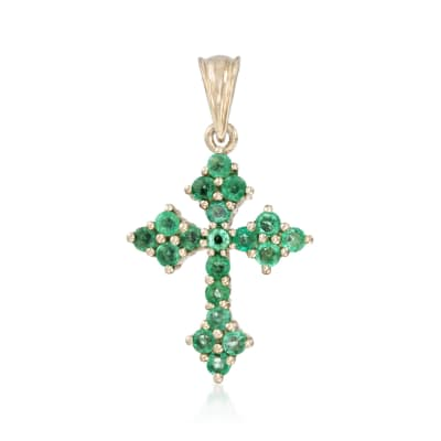 1.30 ct. t.w. Zambian Emerald Cross Pendant in 14kt Gold Over Sterling