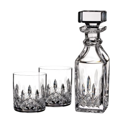 """Waterford Crystal """"Connoisseur"""" Set of 2 Lismore Tumbler Glasses with Square Decanter"""