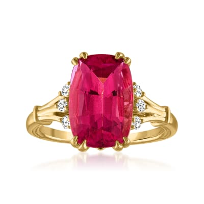 4.60 Carat Pink Tourmaline Ring with .13 ct. t.w. Diamonds in 14kt Yellow Gold