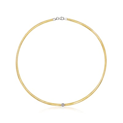 Italian .15 ct. t.w. CZ Reversible Omega Necklace in Sterling Silver and 18kt Gold Over Sterling