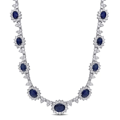 6.90 ct. t.w. Sapphire and 5.42 ct. t.w. Diamond Necklace in 18kt White Gold