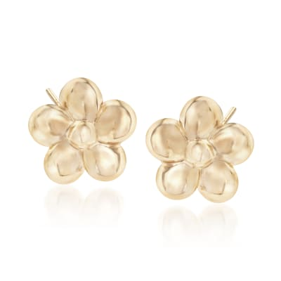 14kt Yellow Gold Flower Stud Earrings