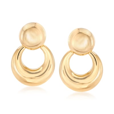 Italian 18kt Yellow Gold Doorknocker Earrings