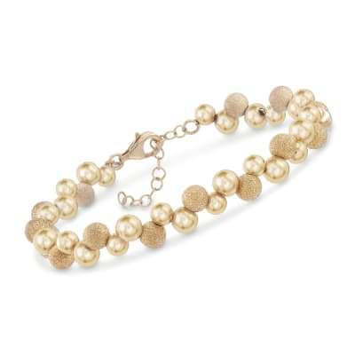 Italian 18kt Gold Over Sterling Silver Scattered Bead Bracelet