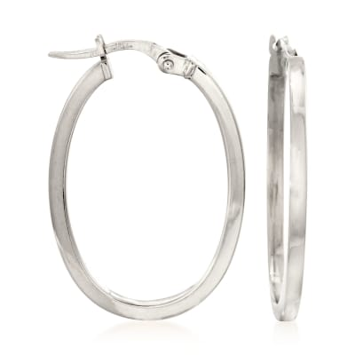 Roberto Coin 18kt White Gold Oval Hoop Earrings