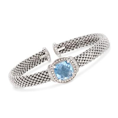 "Phillip Gavriel ""Popcorn"" 5.00 Carat Blue Topaz and .11 ct. t.w. Diamond Cuff Bracelet in Sterling Silver"
