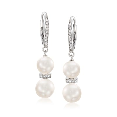 7.5-9mm Cultured Pearl and .15 ct. t.w. Diamond Drop Earrings in Sterling Silver