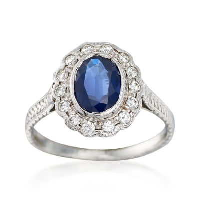 C. 2000 Vintage 1.00 Carat Sapphire and .22 ct. t.w. Diamond Ring in 14kt White Gold