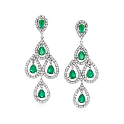 3.30 ct. t.w. Emerald and 1.90 ct. t.w. Diamond Chandelier Earrings in 14kt White Gold