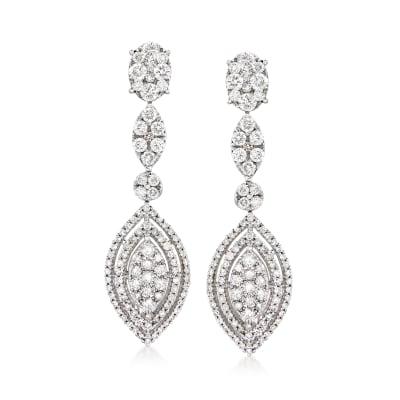 2.15 ct. t.w. Diamond Drop Earrings in 14kt White Gold