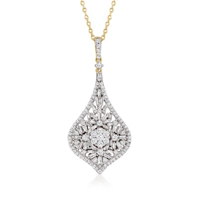 1.00 ct. t.w. Baguette and Round Diamond Cluster Pendant Necklace in 14kt Yellow Gold