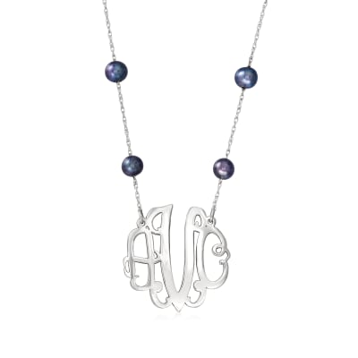 6-7mm Black Cultured Pearl Station Medium Monogram Necklace in Sterling Silver