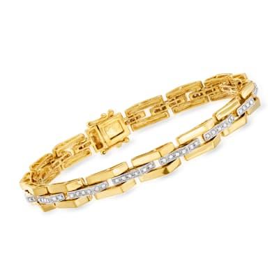 .57 ct. t.w. Diamond Link Bar-Center Bracelet in 18kt Gold Over Sterling
