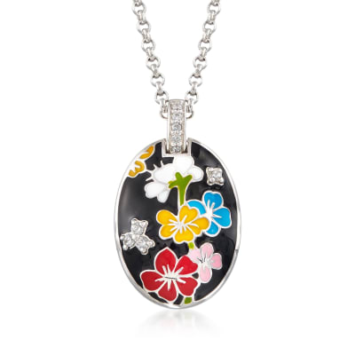 "Belle Etoile ""Constellations: Sakura"" Multicolored Enamel and .20 ct. t.w. CZ Pendant in Sterling Silver"