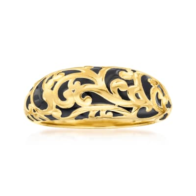 18kt Gold Over Sterling Scrollwork Dome Ring with Black Enamel