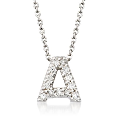 "Roberto Coin ""Love Letter"" Diamond Accent Initial ""A"" Necklace in 18kt White Gold"