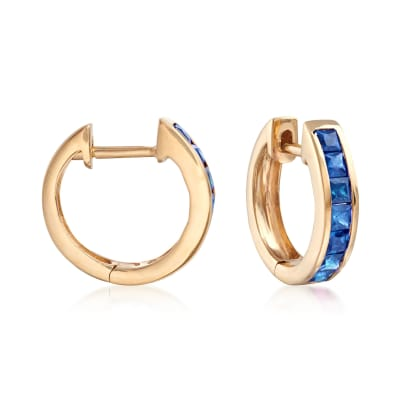 .80 ct. t.w. Sapphire Huggie Hoop Earrings in 14kt Yellow Gold