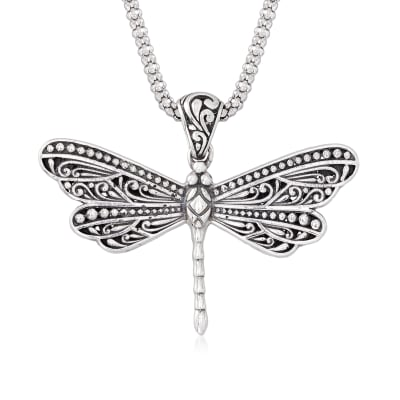 Sterling Silver Bali-Style Dragonfly Pendant Necklace