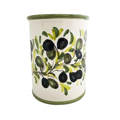 "Abbiamo Tutto ""Classic Olive"" Ceramic Wine Bottle/Kitchen Utensil Holder from Italy"