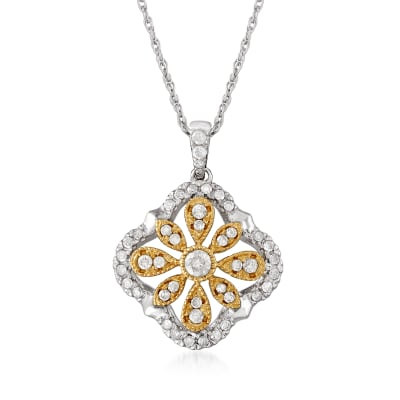 .50 ct. t.w. Diamond Flower Openwork Pendant Necklace in Sterling Silver and 14kt Yellow Gold