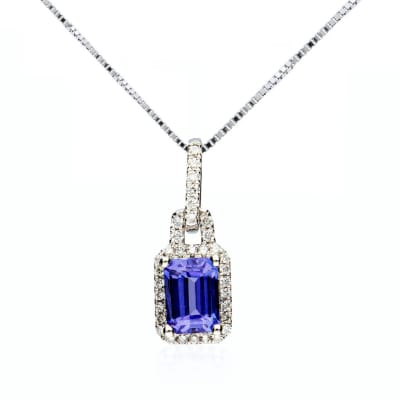 1.00 Carat Tanzanite and .18 ct. t.w. Diamond Pendant Necklace in 14kt White Gold