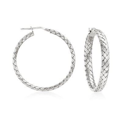 Italian Sterling Silver Basketweave Hoop Earrings