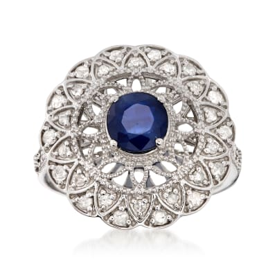 1.00 Carat Sapphire and .48 ct. t.w. Diamond Ring in Sterling Silver