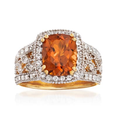 2.60 Carat Citrine and 1.00 ct. t.w. White Topaz Ring in 14kt Gold Over Sterling