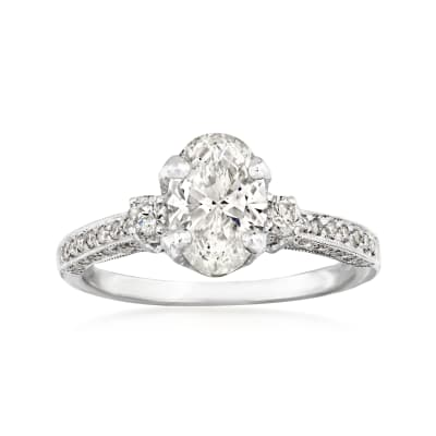 C. 1990 Vintage 2.10 ct. t.w. Diamond Ring in 18kt White Gold
