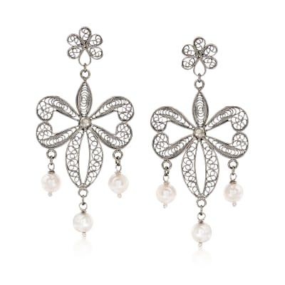 Italian 7mm Cultured Pearl Filigree Drop Earrings in Sterling Silver
