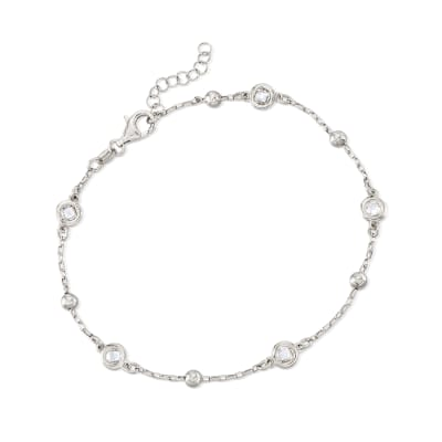 Italian 1.15 ct. t.w. Bezel-Set CZ Station Anklet in Sterling Silver