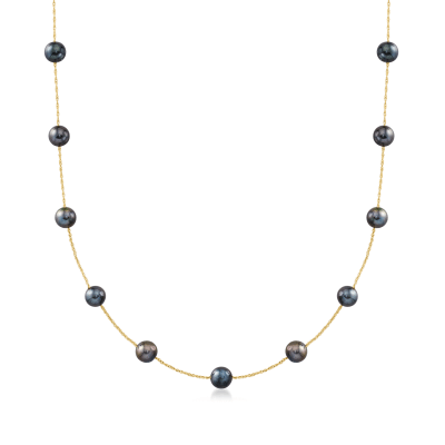 6-7mm Black Cultured Pearl Station Necklace in 14kt Yellow Gold